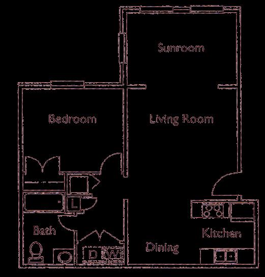 Park Crossing Rutherford NC 1 bedroom floorplan